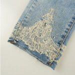 Jeans Con Apliques De Encaje
